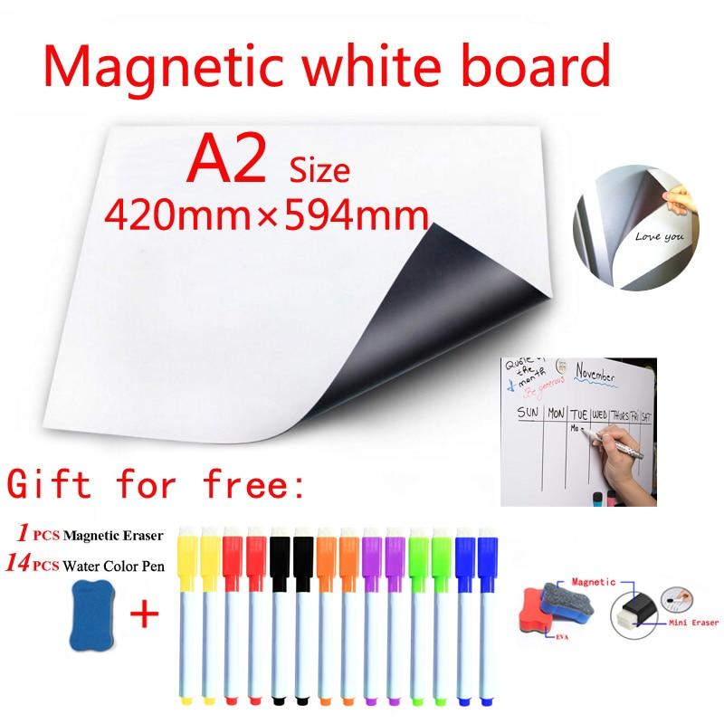 Magnetic Whiteboard Fridge Magnets Dry-erase Calendar Kids Board Memo School White Board Sticker Gift 14 Color Pen 1 Erasser