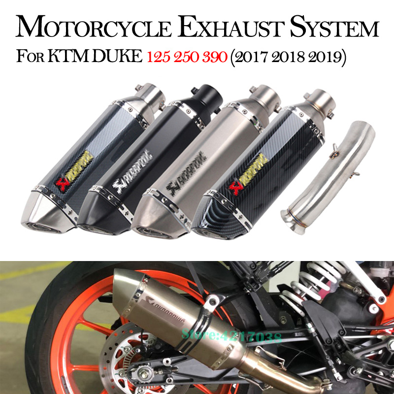 Slip on Motorcycle Exhaust 51mm System Pipe Muffler Mid Link Pipe Full Pipe For KTM DUKE 125 250 390 RC390 2017 2018 2019 Years image