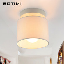 BOTIMI Round Cloth Lampshade LED Ceiling Lamp For Corridor Lamparas de techo Fabric Surface Mounted Indoor E27 Kitchen Lighting(China)