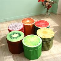 Creative Fruit Folding Storage Organizer Ottoman Stool Footstool Seat Storage Box Size Small (Orange)