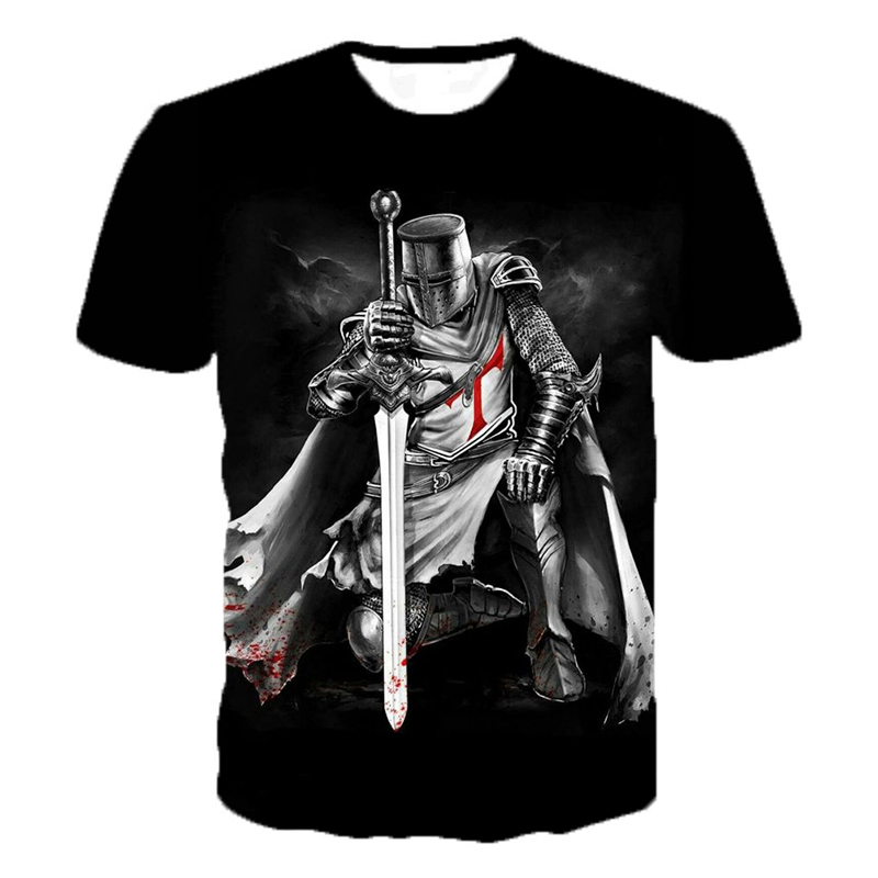 Knights Templar 3D Print T Shirt Knights Templar Fashion Casual T-shirts Men Women Hip Hop Harajuku Streetwear T Shirt Tee Tops