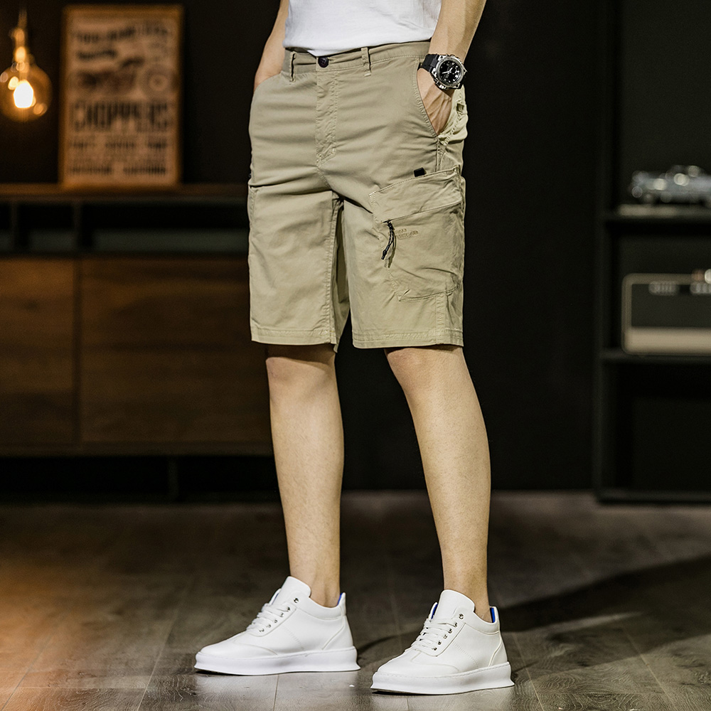 2020 Summer Brand High-quality Cotton Business Gentleman Men's Casual Shorts Micro-elastic Slim Shorts Khaki Army Green Black