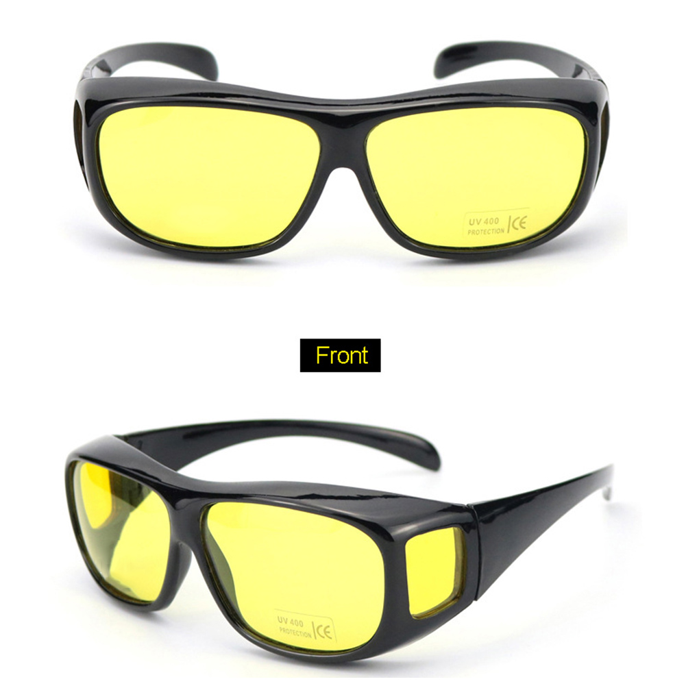 Unisex Night Vision Driving Wrap Around Over Glasses Anti Glare Safety Sunglass Polarized HD Night Vision Goggles Professional D