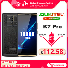 OUKITEL K7 Pro 6.0 18:9 10000mAh Smartphone MT6763 4GB 64GB Android 9.0 empreinte digitale visage ID 9V/2A téléphone portable