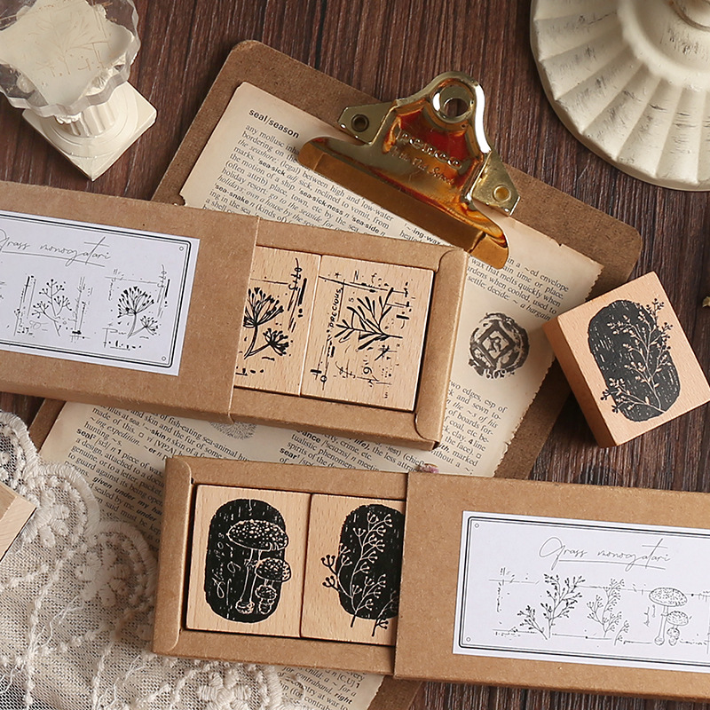 3 Pcs/Box Vintage Daily Plants Decoration Stamp Wooden Rubber Stamps For Scrapbooking Stationery DIY Craft Standard Stamp