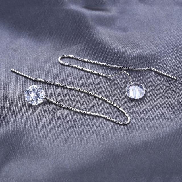 Simulated Diamond Long Drop Earrings
