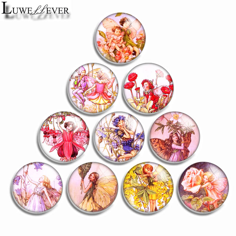 10mm 12mm 16mm 20mm 25mm 30mm 520 Fairy Mix Round Glass Cabochon Jewelry Finding 18mm Snap Button Charm Bracelet