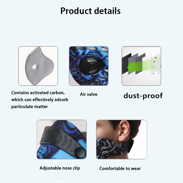 Bicycle half Face Mask Sport Training Mask PM2.5 Anti-pollution Running Mask Activated Carbon Filter Washable Cycling Bike Mask 4