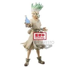 Tronzo original banpresto dr. pedra senku ishigami figura de pedra reino do mundo da ciência senkuu figura de ação brinquedos em estoque
