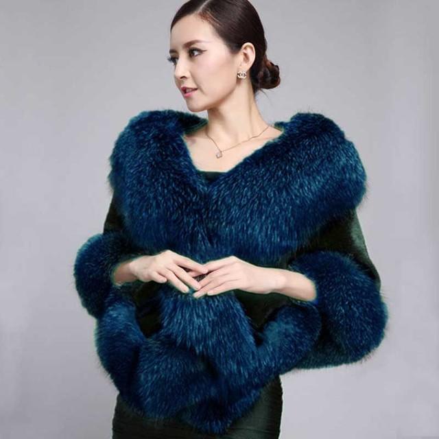 Luxury Women Ladies Winter Faux Mink Fur Cape Shawl Faux Fur Wedding Party Bride Wedding Dress Cape Warm coat  wraps