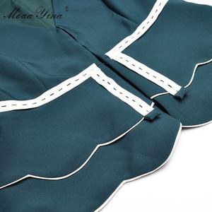 Image 5 - MoaaYina Fashion Designer Set Spring Summer Women V neck jacket Tops+Bell bottoms Two piece suit