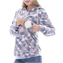 Женские топы для беременных с длинным рукавом и капюшоном, топы для кормящих, пуловер при грудном вскармливании, Толстовка для беременных Повседневный зимний блузка, рубашка C850