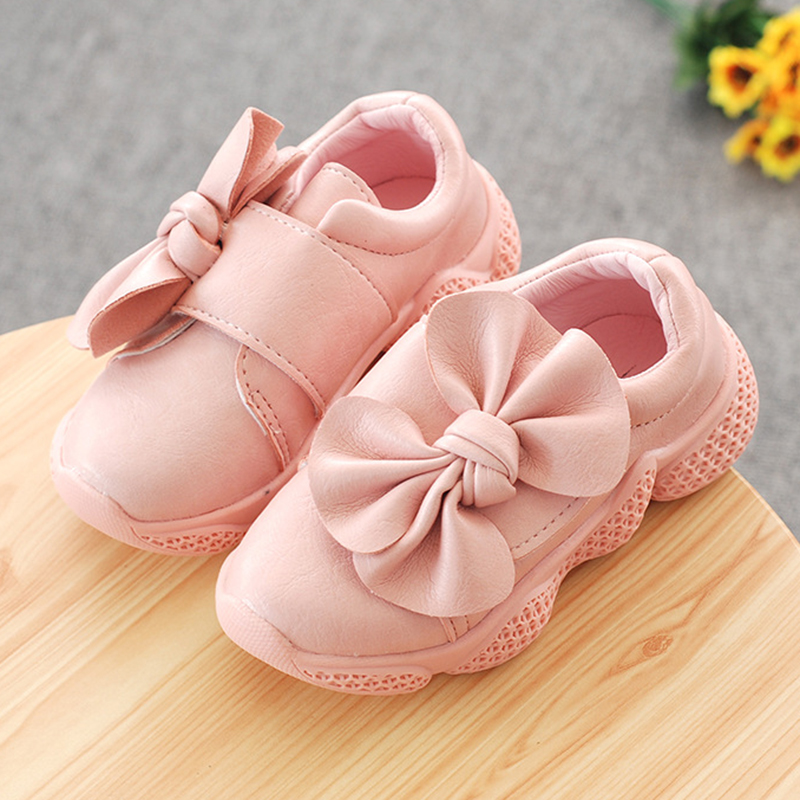 Kids Leather Shoes Girls 2019 Spring Autumn Girls Baby Princess Bowknot Sneakers Soft Non-slip Wedding Party Dress Shoes