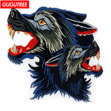 GUGUTREE embroidery big wolf patches animal badges applique for clothing ZK-26