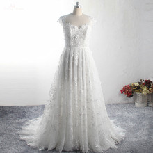 LZ375 Yiaibridal gerçek iş Cap kollu Backless çiçek plaj düğün elbisesi inciler dantel gelin elbise Vestidos De Noiva