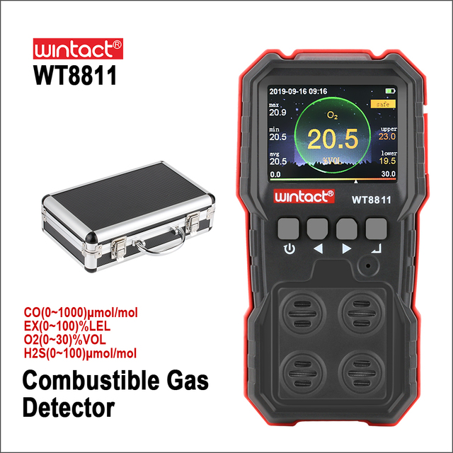 RZ compud 가스 모니터 LCD 디스플레이 충전식 다기능 4 in1 가연성 O2 H2S CO 가스 센서 사운드 라이트 진동 알람