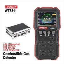 Rz compoudガスモニタlcdディスプレイ充電式多機能 4 in1 可燃性O2 H2S coガスセンサー音光振動警報