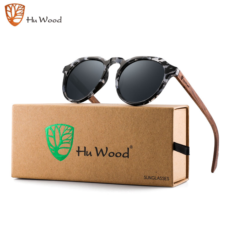Hu Wood Hand-made Women's Polarized Wooden Sunglasses Round Frame UV400 Protection Red Mirror Lens Accessories Packaging GR8048
