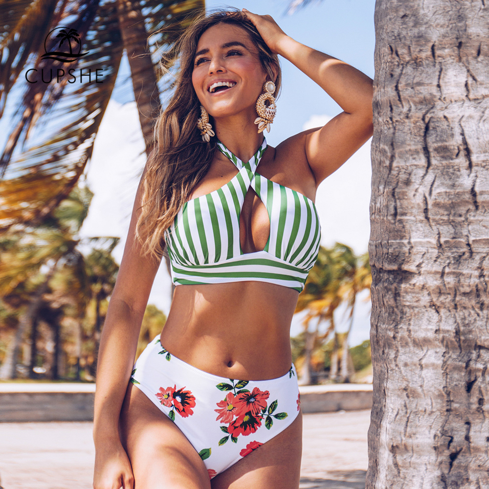 CUPSHE Stripe And Floral Cross Wrap Halter Bikini Sets Sexy Cut Out Swimsuit Two Pieces Swimwear Women 2020 Beach Bathing Suits