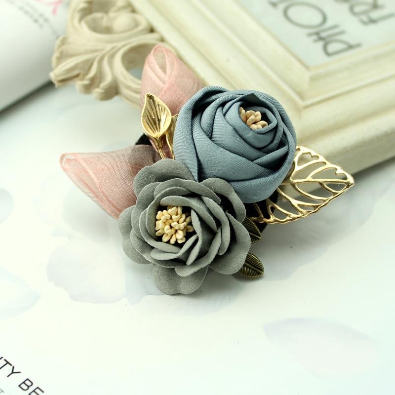 i-Remiel Korean Cloth Art Fabric Flower Brooch Shirt Collar Vintage Pins and Brooches for Women Dress Shirt Collar Accessories 4