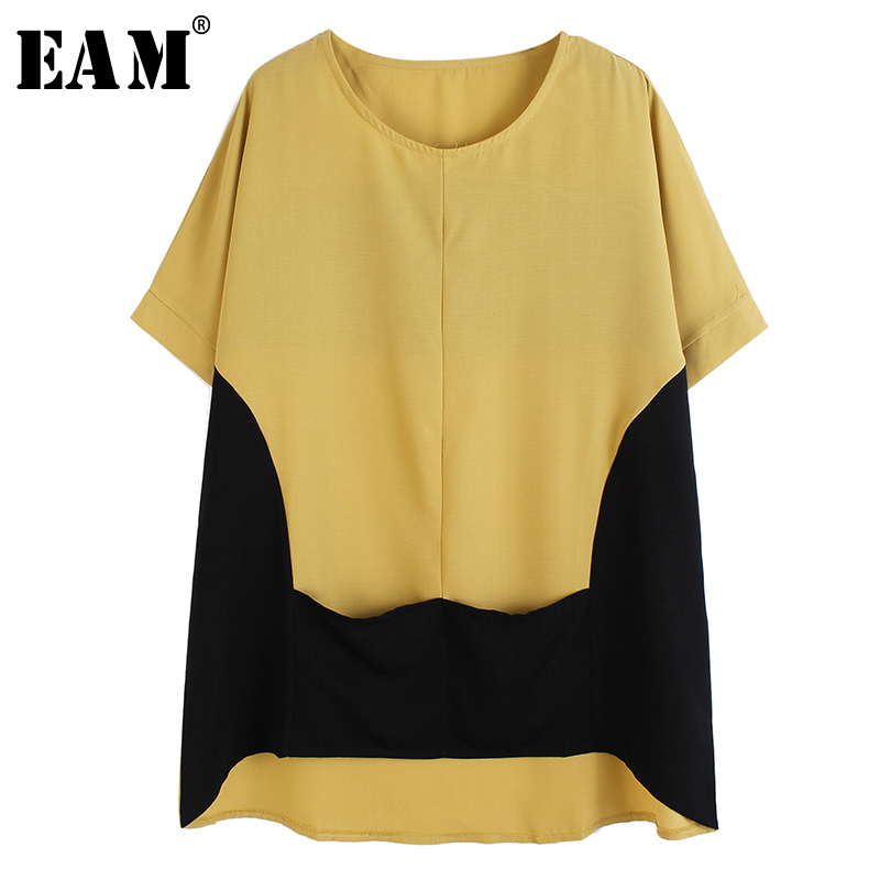 [EAM] Women Multicolor Contrast Color Yellow Big Size T-shirt New Round Neck Short Sleeve Fashion Tide  Spring Summer 2020 1T209