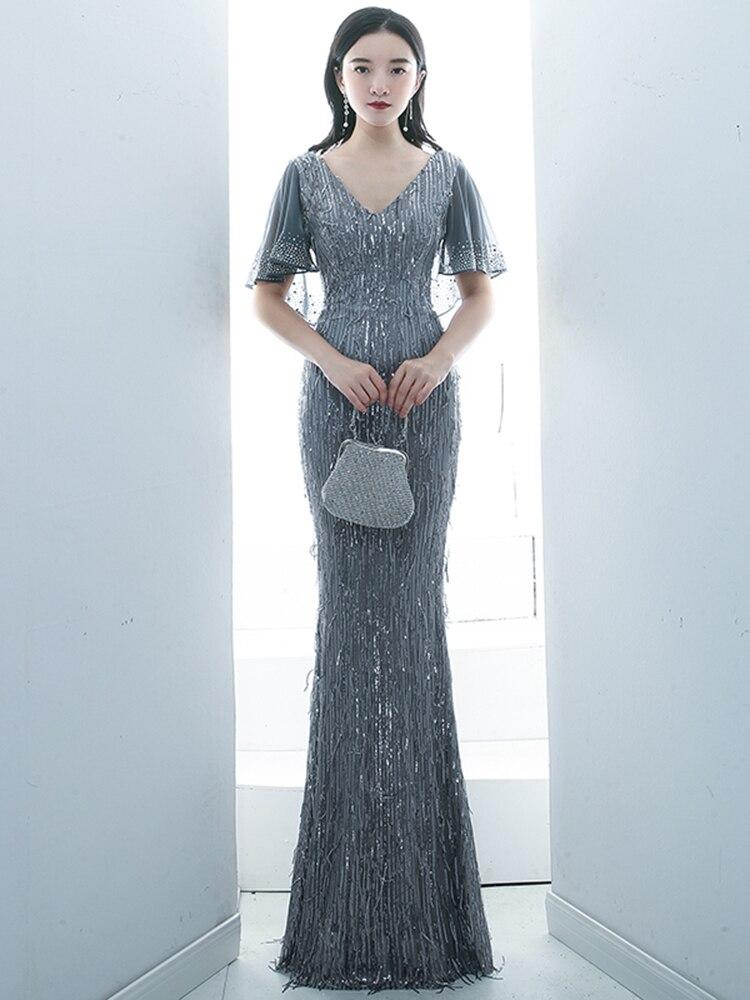 Luxury Sequin Evening Dress Female 2020 New Banquet Vestidos De Fiesta Temperament Fishtail Ladies Dress Host Robe De Soiree