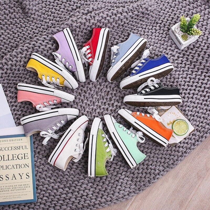 0Children's Shoes 2020 Spring Tide  Low-top Children's Canvas Shoes Parent-child Shoes Small White Shoes