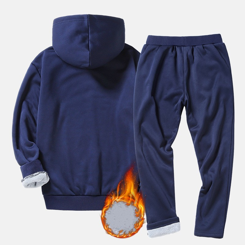 New Fashion Sportswear Tracksuits Sets Mens Hoodies+Pants Casual Outwear Suits Male Hooded Winter Fleece Lining Warm Sets Black