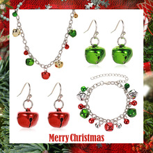 Fashion Multicolor Bell Necklace Pendant Earrings Sets for Women Girls Charm Bracelet Christmas Jewelry Set  Kids Xmas Gifts