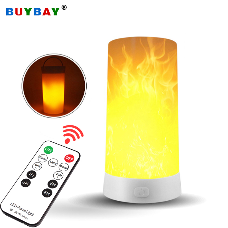 BUYBAY LED Flame Effect Light Rechargeable Portable Remote Control Night Light Emulation Fire Flickering Lamp Vintage Atmosphere Decor Lighting