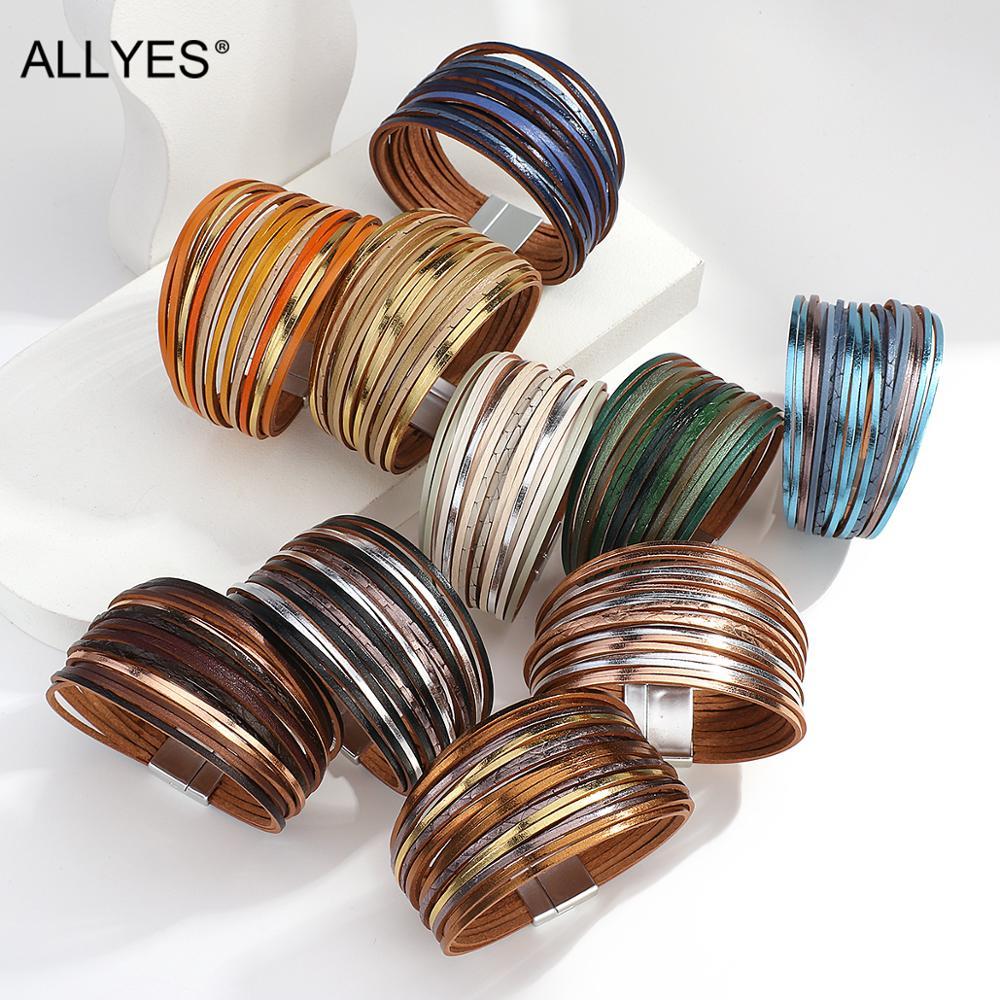 ALLYES Boho Thin Strip Multilayer Leather Bracelets for Women Fashion Multicolor Shred Wrap Bracelet Simple Unisex Jewelry