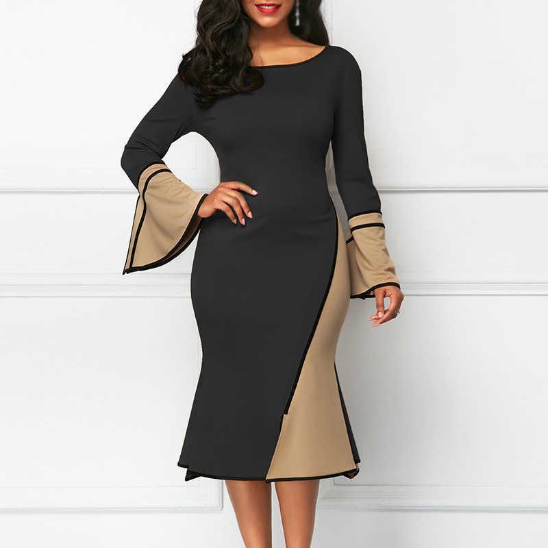 Belle Poque 2019 осень зима сексуальное платье с расклешенными рукавами женские платья Bodycon Midi элегантное вечернее платье повседневные платья