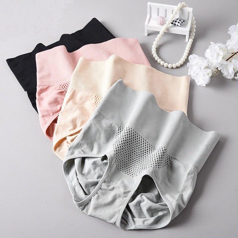 3D Warm Uterus Women Panties Cotton Underwear Abdomen Sliming Buttock Lifting Mid High Rise Brief Lady Briefs Plus Size