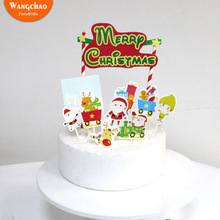 Santa Reindeer Snowman Theme Merry Christmas Cake Topper Child Home Party Supplies Kids Favors Festivals Decoration