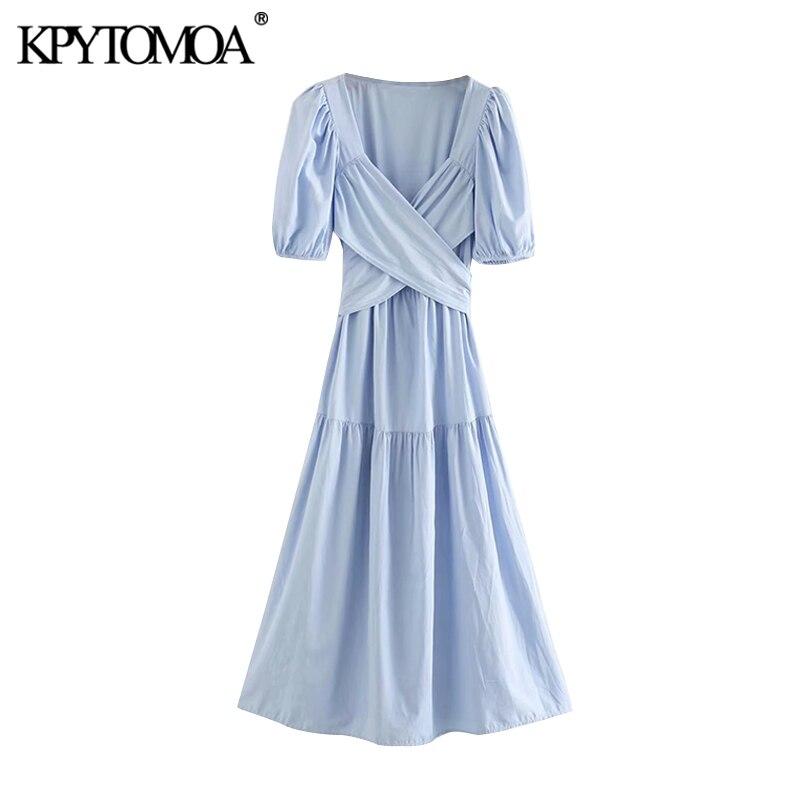 KPYTOMOA Women 2020 Chic Fashion Bow Tie Sashes Pleated Midi Dress Vintage V Neck Short Sleeve Female Dresses Vestidos Mujer