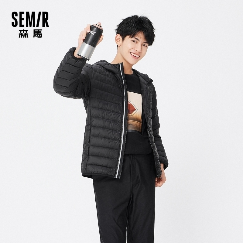 SEMIR Lightweight Down Jacket Men Winter 2020 New Warm Hooded Jacket Short Portable Clothes Thin Fashion Down Coat For Male|Down Jackets| - AliExpress