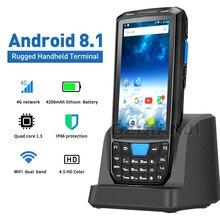 Lector de escáner de código de barras PDA Handheld Android 8,1 POS Terminal, pantalla táctil 1D 2D QR, Wifi inalámbrico, Bluetooth, GPS, colector de datos 4G