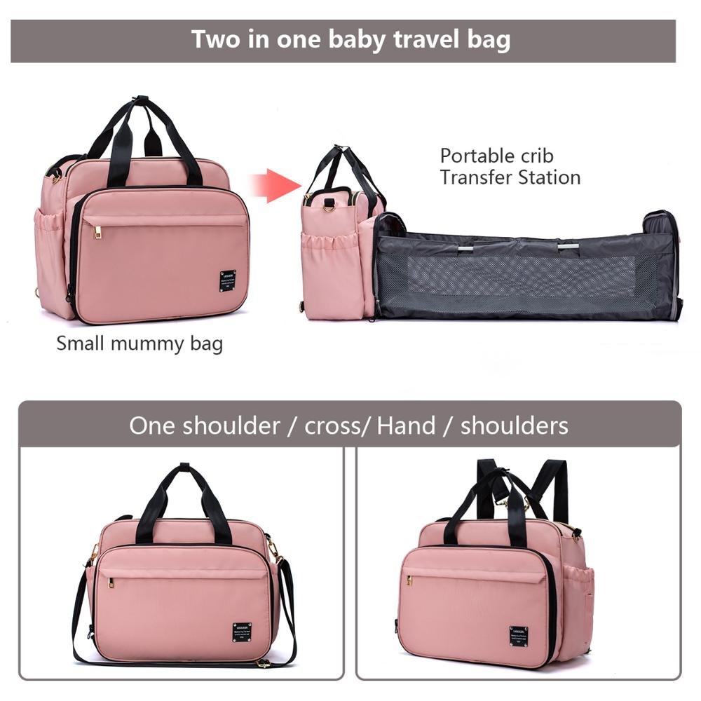 LEQUEEN 3 In 1 Diaper Bag Backpack Foldable Baby Bed Waterproof Travel Bag with USB Charge Diaper Bag Backpack with Changing Bed