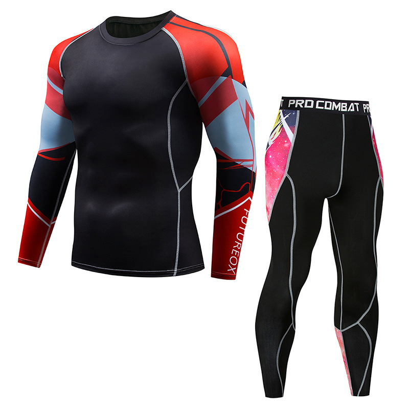 New Men's Suit Leisure Logo Custom Gym Compression Shirt Long Sleeve Sports Fast Drying Super Elastic Tights Men's Wear 2019