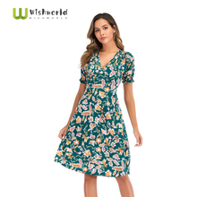 Many colors 2021 Summer New Bohemian V-neck Printing Chiffon Women's Dress Fashion Casual Beach Skirt Boutique Party Dresses