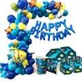 1 комплект шаров с изображением акулы/дельфина/рыбы, шаров под морем, животных, тортов с днем рождения, бумажный Декор-баннер вечерние принад...