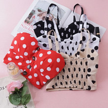 Women Summer Tank tops Vintage Hot summer Polka dot Crop top Fashion sleeveless strappy Button Sling Vest