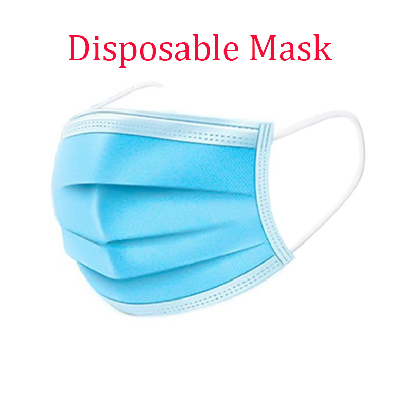 50PCS Disposable Proteccion Mask 3 Layers Dustproof Facial Protective Cover Masks Breathable Reusable Face Mask Wholesale