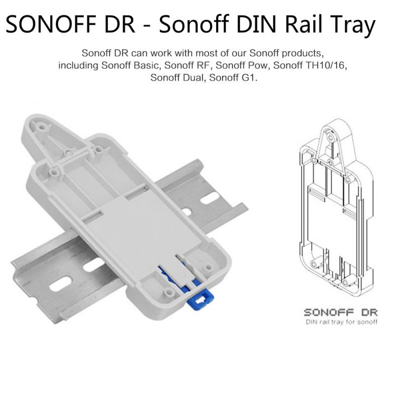 2PCS Sonoff DR - Sonoff DIN Rail Tray For Sonoff Basic/ RF /Pow/TH10/16/ Dual/ G1 For Switchboard DIN Rail Mounted Switchboard