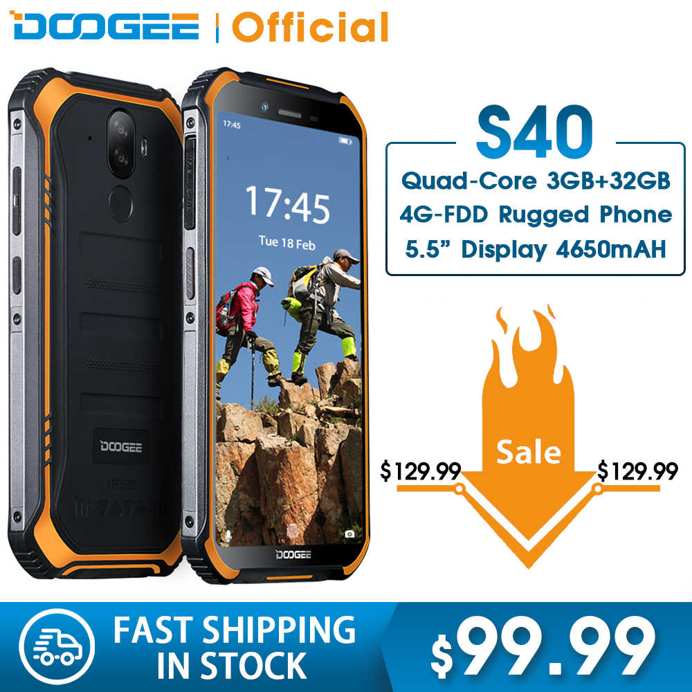 DOOGEE S40 4 GNetwork Rugged Mobile Phone Display da 5.5 pollici 4650 mAh MT6739 Quad Core 3 GB di RAM 32 GB ROM Android 9.0 8.0MP IP68/IP69K