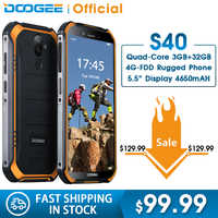 DOOGEE S40 4GNetwork Rugged Mobile Phone 5.5inch Display 4650mAh MT6739 Quad Core 3GB RAM 32GB ROM Android 9.0 8.0MP IP68/IP69K