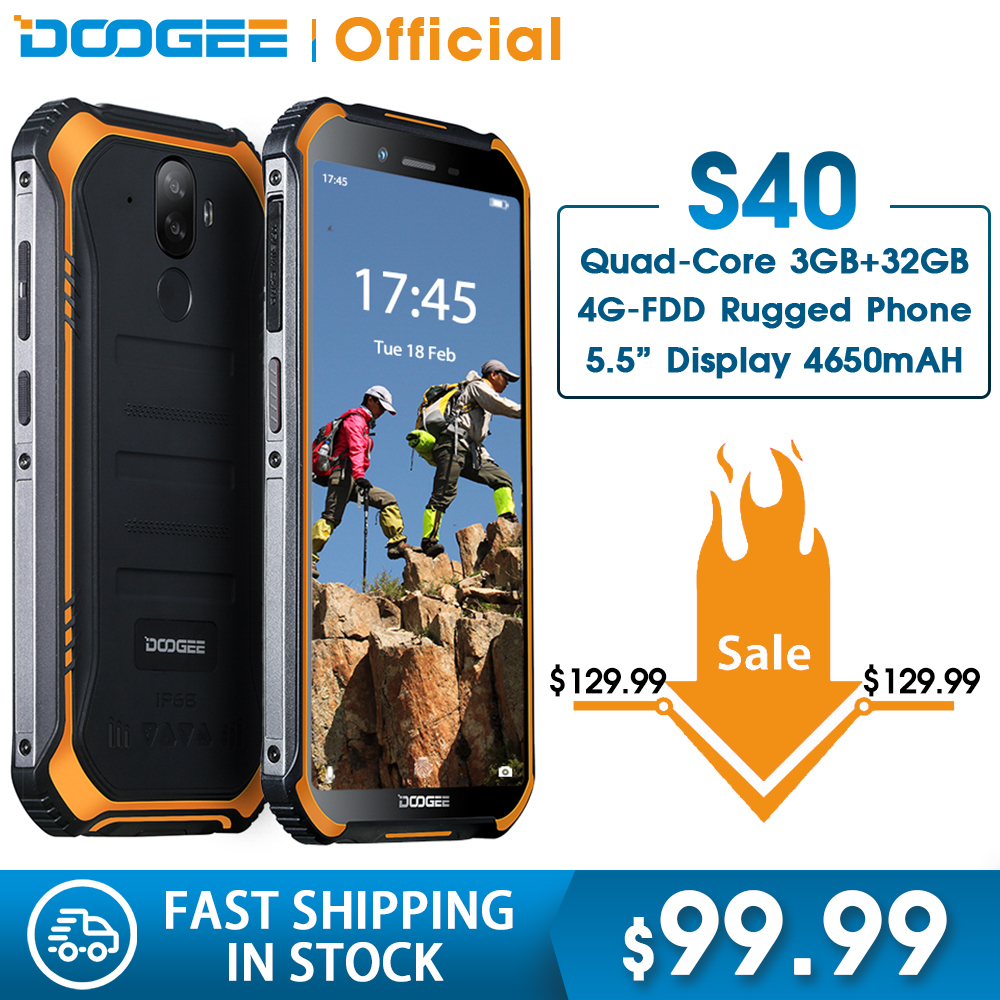 Doogee s40 4 gnetwork 견고한 휴대 전화 5.5 인치 디스플레이 4650 mah mt6739 쿼드 코어 3 gb ram 32 gb rom 안드로이드 9.0 8.0mp ip68/ip69k