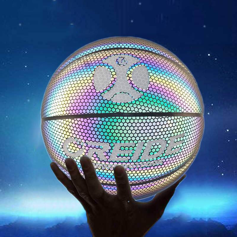 Size 5 Luminous Basketball Ball Holographic Reflective Lighted Flash Ball PU Wear-Resistant Glowing Basketball Night Sports Game