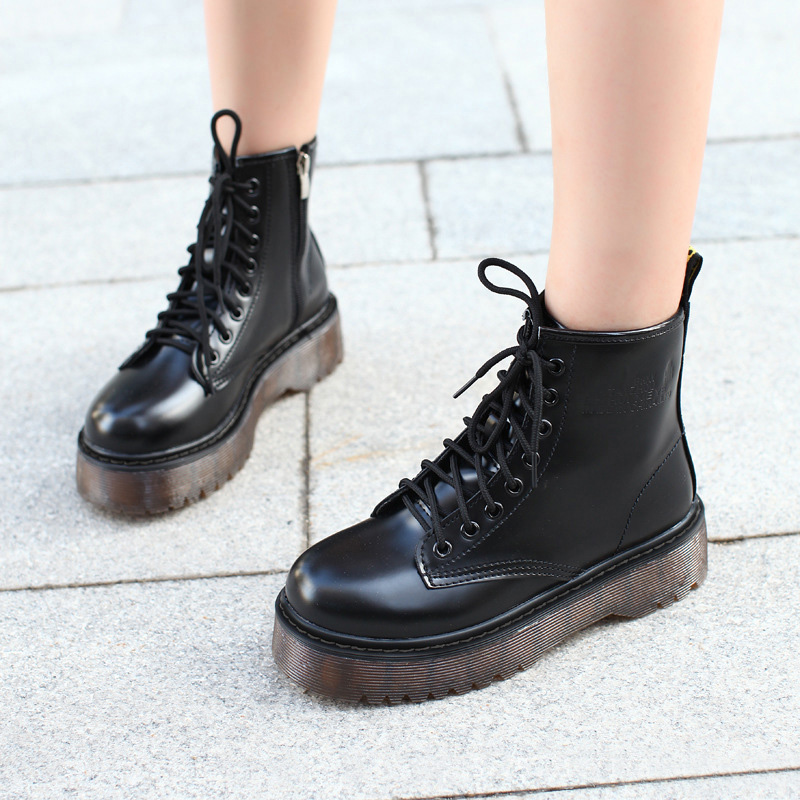 2019 New Women Boots Leather PU Motorcycle Platform Shoes Winter Female Booties Women's