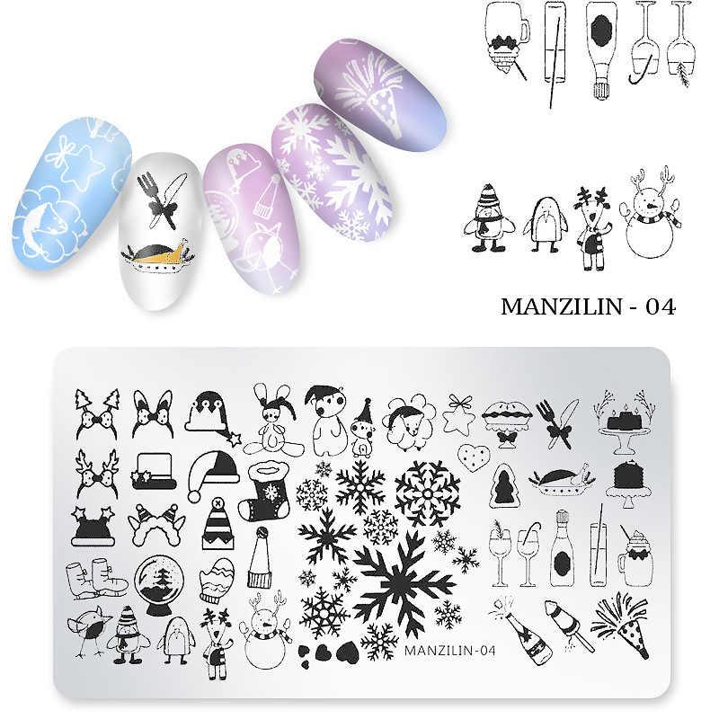 Noël ongles estampage modèle bricolage ongles conceptions manucure Image plaque pochoir